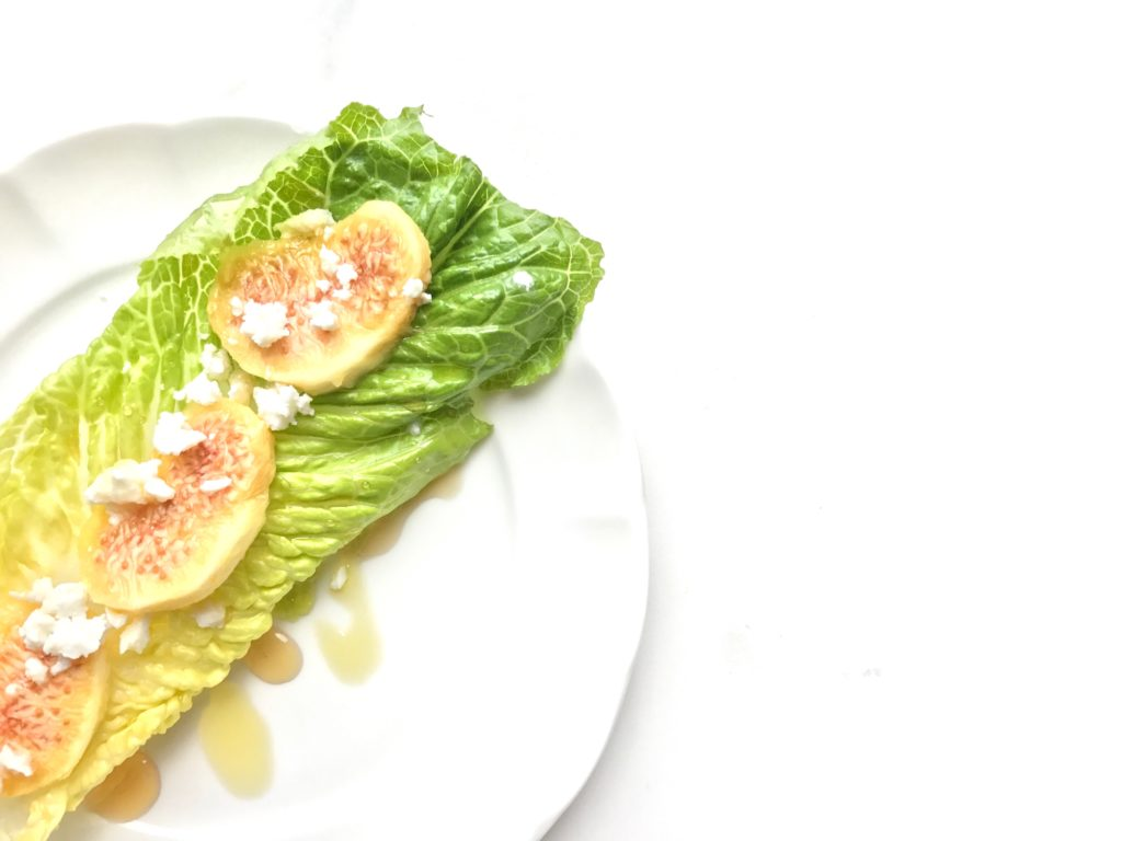 Maple drizzled fig and feta lettuce boats
